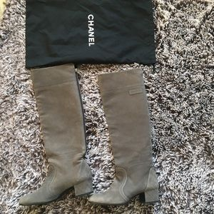 Chanel leather boots gray brown sz 38 US 7 - 7.5